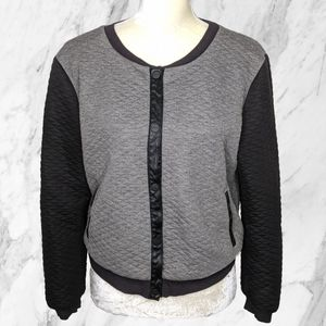 Sanctuary Gray Quilted Color Block Bomber Jacket M